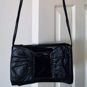 Vtg Pierre Mishael Patent Leather Black Bow Purse